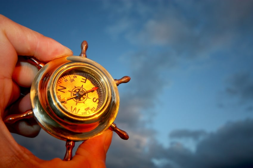 Leadership speaker and author, Bob Vanourek, uses the image of a compass against the sky to represent the responsibility of Boards to ensure trustworthiness.
