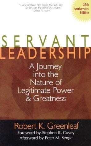 Leadership speakers and authors, Bob and Gregg Vanourek highlight Greenleaf's primary work on servant leadership.